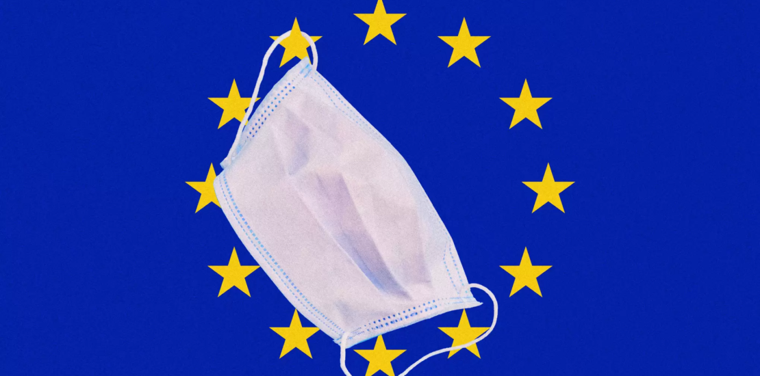 European flag with face mask